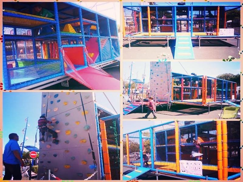 Prestation d'animation pour enfants avec un trampoline, et mur d'escalade Nantes