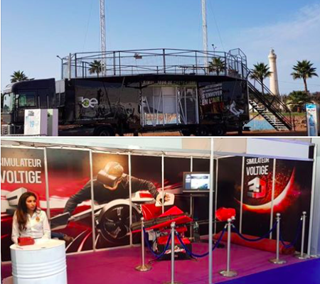 Simulateur de chute libre et simulateur de wingsuit de Be Event Sensation au Maroc pour vos événements.