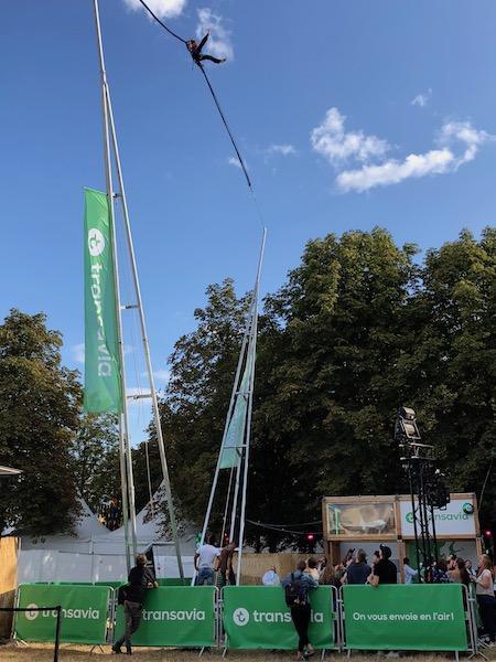 Manège Ejector sur le Festival Rock En Seine pour une animation Transavia. Sensation garantie avec Be Event Sensation